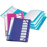 Snopake Filelastic (A4) Elasticated Box File with 8 Segments (Electra Assorted Colours) Pack of 5 Files