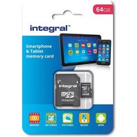 Integral 64GB Smartphone and Tablet microSDHC/XC Class 10 UHS-I U1 with SD Adapter