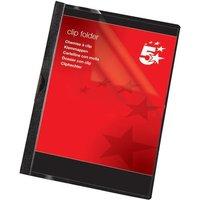 5 Star (A4) Clip Folder 6mm Spine for 60 Sheets (Black) Pack of 25