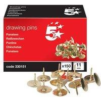 5 Star (11mm) Brassed Drawing Pins of Head Diameter Pack of 150