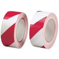 Soft PVC (50mm x 33m) Red and White Hazard Tape for Internal Use