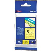 Brother P-touch TZe-611 (6mm x 8m) Black on Yellow Laminated Labelling Tape