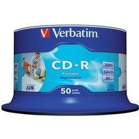 Verbatim CD-R 700MB 80 Minute 52 Speed Data Life Plus Printable (Pack of 50)