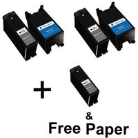 3 x Black Dell Series 24 and 2 x Colour Dell Series 24 (Remanufactured) + 1 Free Paper