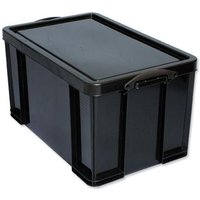 Really Useful (84L) Recycled Plastic Stackable Storage Box (Black) with Lid and Clip Lock Handles