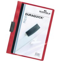 Durable Duraquick (A4) Clip PVC Folder Clear Front (Red) for 20 Sheets - 1 x Pack fo 20 Folders