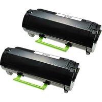 TWIN PACK: Lexmark 502U (50F2U00) Remanufactured Black Ultra High Capacity Toner Cartridge