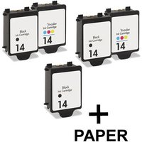 3 x Black HP 14 and 2 x Colour HP 14 (Remanufactured) + 1 Free Paper