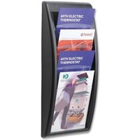 Fast Paper Wall-Mounted Literature Holder with 4 x A4 Pockets (Black)
