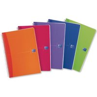 Oxford Office Notebook Twin Wirebound Plastic Ruled 180 Pages 90gsm A5 Bright Assorted [Pack 5]