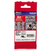 Brother TZeS221 Original P-Touch Extra Strength Label Tape - 3/8 x 26.2 ft (9mm x 8mm) Black on Clear
