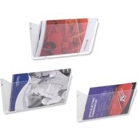 Wall Mounted Literature Pockets (A4) Landscape Unbreakable with Brackets Crystal Pack of 3