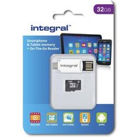 Integral 32GB microSDHC/XC Class 10 UHS-I U1 with SD Adapter and USB OTG Card Reader