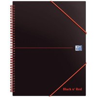 Black n Red A4+ Book Meeting Book Plastic Wirebound Rear Elasticated 3-Flap Folder (Pack 5)