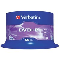 Verbatim DVD+R 4.7GB 16x Matt Silver Spindle (Pack of 50)