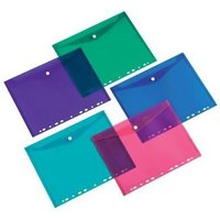 5 Star Office Punched Filing Pockets Assorted (Blue Green Red Purple and Transparent) Pack of 5