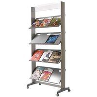 Fast Paper 1-Sided Mobile Literature Display with 4 Metal Shelves (Silver)