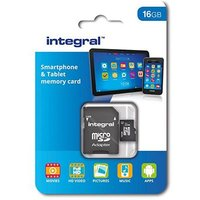 Integral 16GB Smartphone and Tablet microSDHC/XC Class 10 UHS-I U1 with SD Adapter