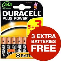 Duracell Plus Power (AAA) Alkaline Batteries (Pack of 8) Pack of 5 with 3 Free Batteries
