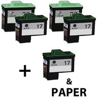 3 x Black Lexmark 17 and 2 x Colour Lexmark 27 (Remanufactured) + 1 Free Paper
