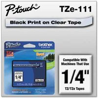 Brother TZe-111 Original P-Touch Label Tape - 1/4 x 26.2 ft (6mm x 8mm) Black on Clear