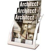 Deflecto Contemporary 3-Tier Literature Holder Magazine Size (Silver) - Single