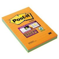 Post-It 3M Super Sticky (102 x 152mm) Notes Ruled Assorted Colours (3 x 90 Sheets)