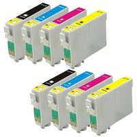Compatible Multipack Epson Stylus SX120 Printer Ink Cartridges (8 Pack) -C13T12814011