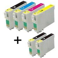Compatible Multipack Epson T0321/424 Full Set + 2 EXTRA Black Ink Cartridges (6 Pack)