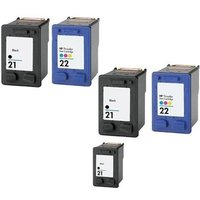 Compatible Multipack HP DeskJet F394 Printer Ink Cartridges (5 Pack) -C9351AE