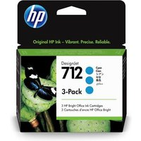 HP 712 (3ED77A) Cyan Original DesignJet Ink Cartridge (3 Pack)