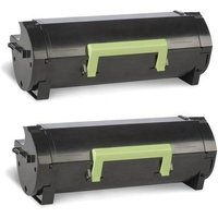 Compatible Twin Pack Lexmark 50F0HA0 Black High Capacity Toner Cartridges (2 Pack)