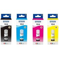 Epson 104BK/C/M/Y Full Set Original Ink Bottles (4 Pack)