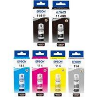 Original Multipack Epson EcoTank ET-8500 Printer Ink Cartridges (6 Pack) -C13T07A140