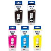 1 Epson 105 Black + 1 Full Epson 106 PB/C/M/Y Original Ink Bottles (5 Pack)