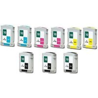 Compatible Multipack HP 2000c Printer Ink Cartridges (9 Pack) -C4844A