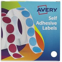 Avery Labels in Disp Round 19mm DIA Wht 24-404 (1400 Labels)