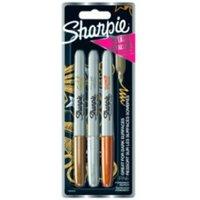 Sharpie Perm Markers Fine Tip Assorted Metallic Colours PK3