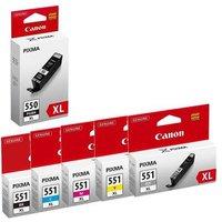 1 Canon PGI-550XL Black + 1 Full Canon CLI-551XL BK/C/M/Y/GY Original Ink Cartridge (Includes Gray) (6 Pack)