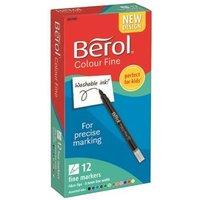 Berol Color Fine Fibre Tip Pen Assorted PK12
