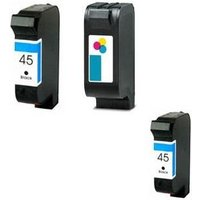 Compatible Multipack HP PhotoSmart P1000-1000 Printer Ink Cartridges (3 Pack) -51645A