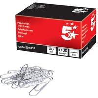 5 Star Polished Steel Paper Clips Bundle Starter Desk Set Pack (100 Paper Clips)
