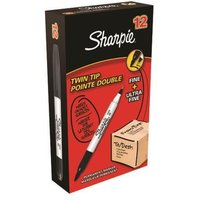 Sharpie Twin Tip Permanent Marker 1.5mm & 0.4mm Line BK PK12