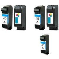 Compatible Multipack HP PhotoSmart P1000-1000 Printer Ink Cartridges (5 Pack) -51645A