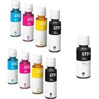 Compatible Multipack HP GT51/GT52 2 Full Sets + 1 EXTRA Black Ink Bottle (9 Pack)