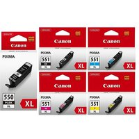 1 Canon PGI-550XL Black + 1 Full Canon CLI-551XL BK/C/M/Y/ Original Ink Cartridges (5 Pack)