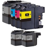 Compatible Multipack Brother LC12E Full Set + 2 EXTRA Black Ink Cartridges (6 Pack)