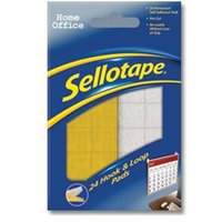 Sellotape Sticky Hook and Loop Pads 20 x 20mm (Pack of 24)
