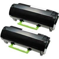 TWIN PACK : Lexmark 53B2000 Black Remanufactured Standard Capacity Toner Cartridges