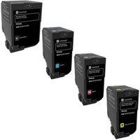 1 Full Set Lexmark 74C2SK0 Black and 1 x Colour Set 74C2SC0/M0/Y0 Original Standard Capacity Return Program Toner Cartridges